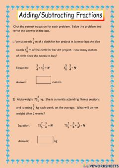 Ficha interactiva Problem solving (addition - subtraction of fractions)