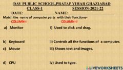 Interactive worksheet Computer parts and their functions-1