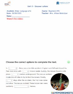 Interactive worksheet Unit 2 - Discover culture 9th