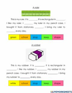 Interactive worksheet A ruler and a rubber