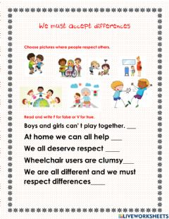 Interactive worksheet We must accept differences