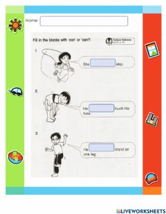 Interactive worksheet Can or Can't Year 2