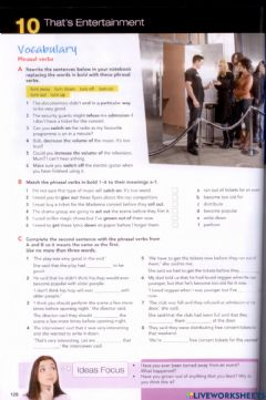 Interactive worksheet Close Up- Unit 10 That's Entertainment (Vocabulary)