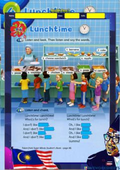 Ficha interactiva Year 1: Lunchtime 1 - Chant