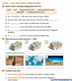 Interactive worksheet Earth Surface