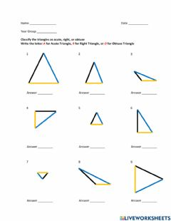 Interactive worksheet Classify Triangles by their Angles