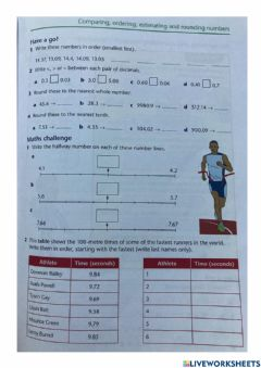 Ficha interactiva Comparing, ordering, estimation and rounding numbers
