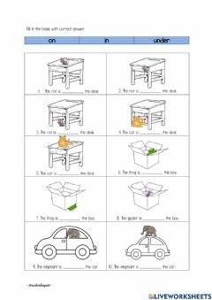 Interactive worksheet Place preposition (on, in, under)