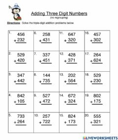 Ficha interactiva Addition without regrouping