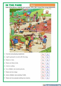 Interactive worksheet In the park