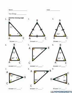 Interactive worksheet Triangles Find Missing Angle