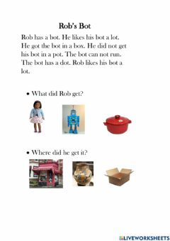 Interactive worksheet Picture Comprehension - Rob's Bot