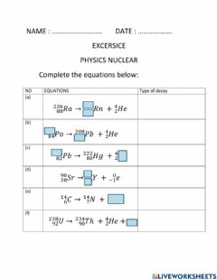 Interactive worksheet Physics nuclear