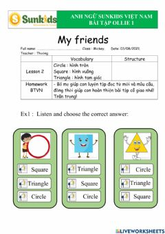 Interactive worksheet My friends-lession 2