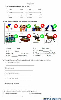 Interactive worksheet Can and can-t for ability