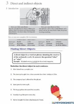 Ficha interactiva 6th: August 23rd- direct and indirect objects