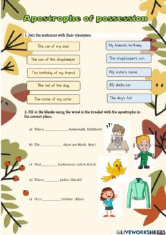 Interactive worksheet Apostrophe of possession