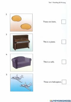 Ficha interactiva Writing and reading test 1