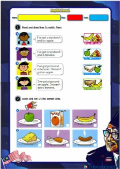 Ficha interactiva Year 1: Lunchtime 2 - Have got - Haven't got