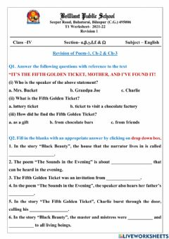 Interactive worksheet Class 4 Revision 1