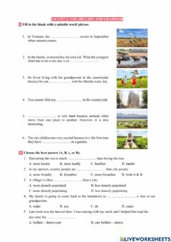 Interactive worksheet E8 -  Life in the countryside