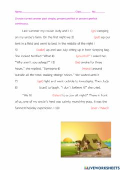 Interactive worksheet Past simple, Present perfect, Present perfect continuous