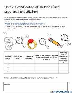 Interactive worksheet Pure substance and mixture