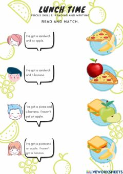 Interactive worksheet Year 1 lunch time