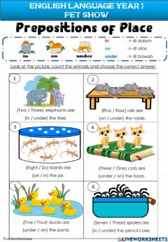 Interactive worksheet Pet Show - Prepositions of Place