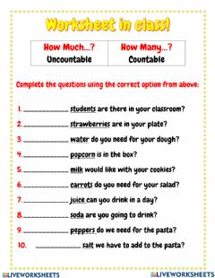 Interactive worksheet How much how many