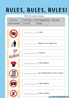 Interactive worksheet Rules year 3 CEFR