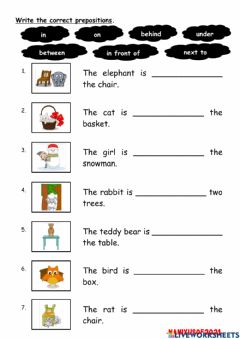 Interactive worksheet Prepositions of place (IN,ON,UNDER,BEHIND,IN FRONT OF,BETWEEN,NEXT TO)