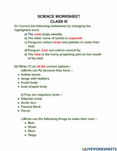 Interactive worksheet Science worksheet ( BIRDS AND THEIR NESTS)