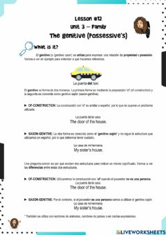 Interactive worksheet FinEs English II - Lesson 12