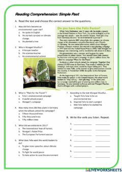 Interactive worksheet Simple past Reading comprehension and pronunciation