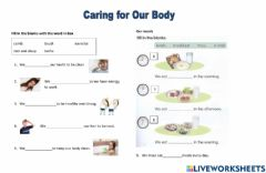 Interactive worksheet Caring for Our Body Part 1