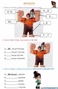 Interactive worksheet Parts of the face and body