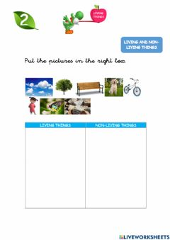 Interactive worksheet Living and non living