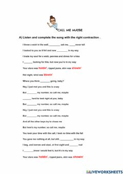 Interactive worksheet Call me maybe