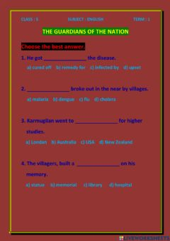 Interactive worksheet The guardians of the nation CLASS -5