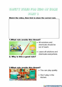 Interactive worksheet Safety rules for kids at home