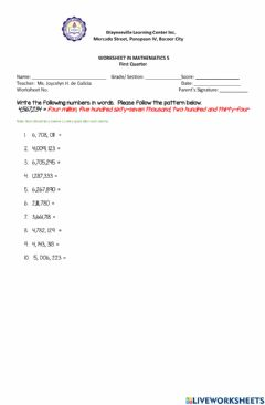 Interactive worksheet Number names to million