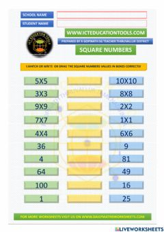 Interactive worksheet Square numbers maths