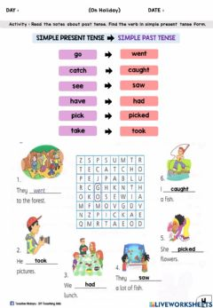 Interactive worksheet On Holiday (Past Tense : Word Search)