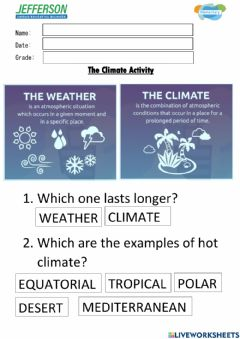 Interactive worksheet The Climate
