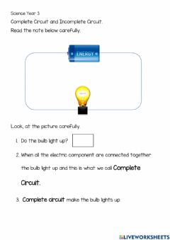 Ficha interactiva Complete and Incomplete Circuit