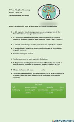 Interactive worksheet Revision of Terms - Principles of Accounting