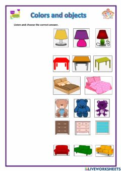 Interactive worksheet Colors and objects
