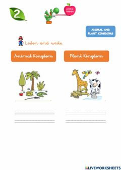 Interactive worksheet Animals and plants