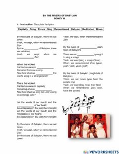 Interactive worksheet By the rivers of babylon